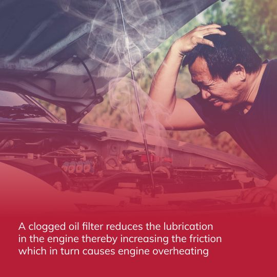 Engine overheating due to oil filter problem