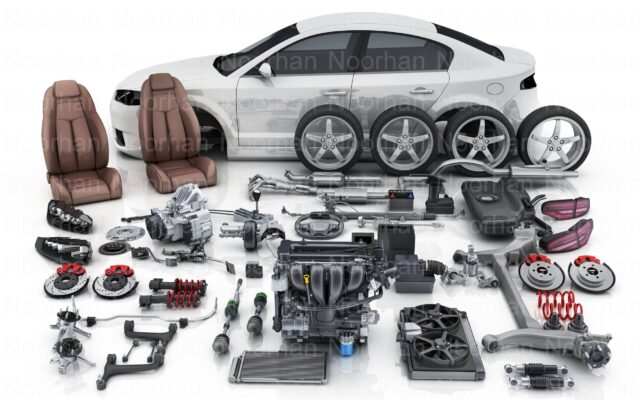 Car Disassembled into separate spare parts