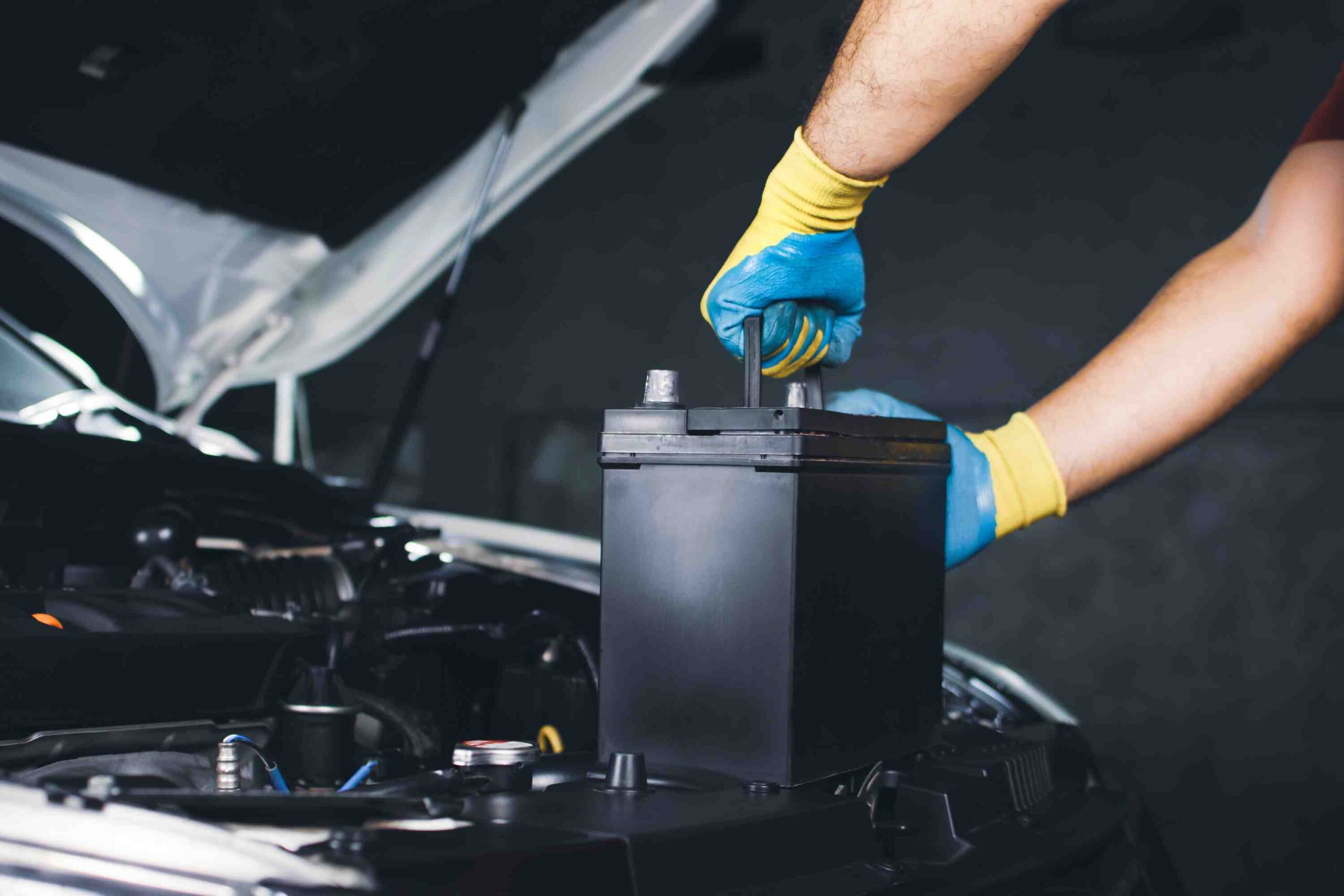 Clean car battery with packaging removed